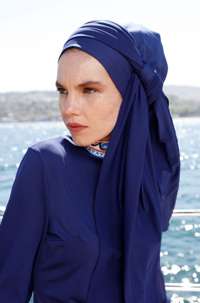 Navy blue tulband zwemkap