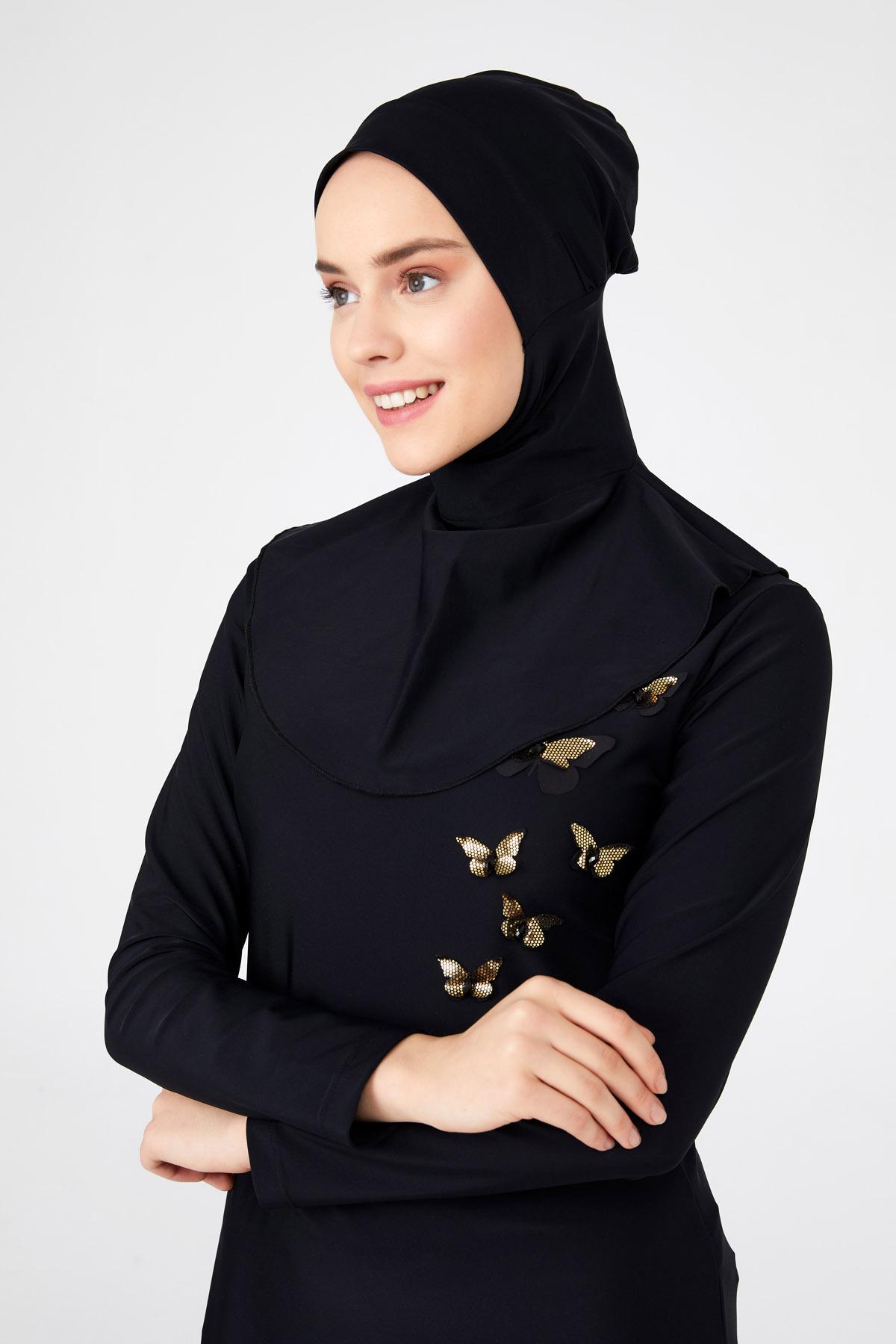 zwart zwem hoofddoek